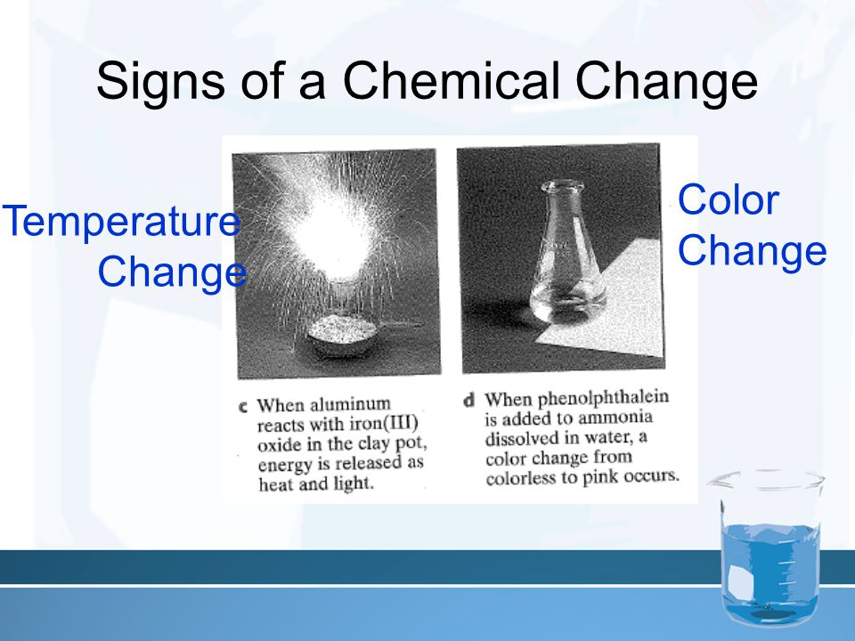 Signs of a Chemical Change Color Change Temperature Change