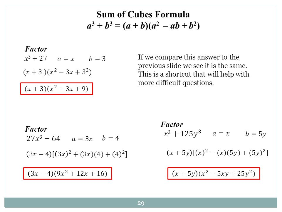 29 Factor x 3 + 27 Sum of Cubes Formula a 3 + b 3 = (a + b)(a 2 – ab + b 2 ) If we compare this answer to the previous slide we see it is the same. Th