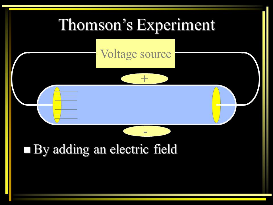 The cathode ray travels from the cathode to the anode when current was passed through the tube. Voltage source +- J.J. Thompson's Cathode Ray Tube Cat