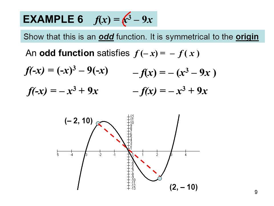 9 EXAMPLE 6 f(x) = x 3 – 9x Show that this is an odd function. It is symmetrical to the origin – f(x) = – (x 3 – 9x ) – f(x) = – x 3 + 9x An odd funct