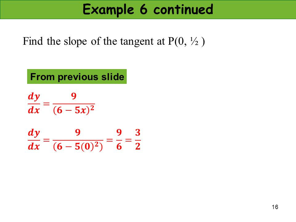 16 Example 6 continued Find the slope of the tangent at P(0, ½ ) From previous slide