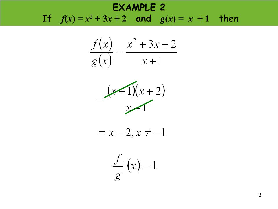 9 EXAMPLE 2 If f(x) = x 2 + 3x + 2 and g(x) = x + 1 then