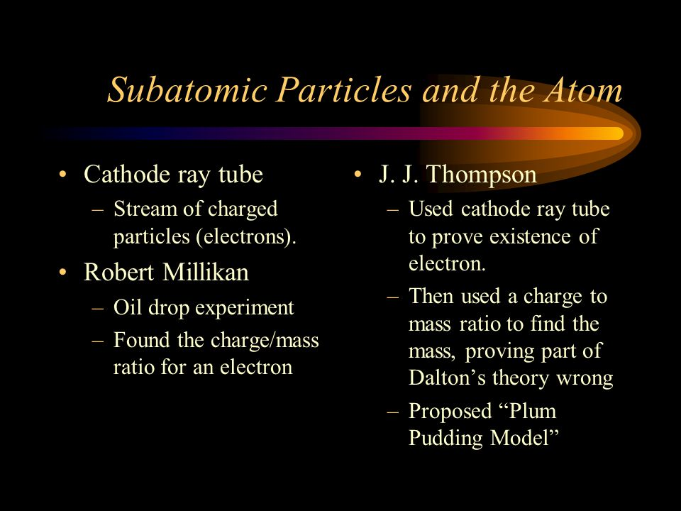 Democritus Atoms Differences in atoms Dalton Atoms Sameness Created/destroyed Combination Rearrangement Thompson Atoms composed of electrons
