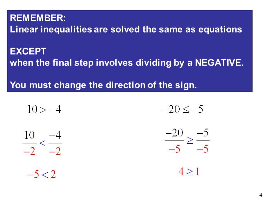 5 Linear Inequalities Solve the inequalities.