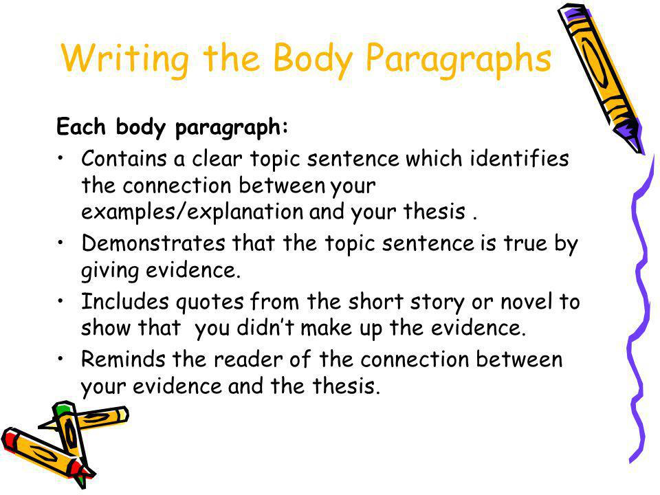 Writing the Body Paragraphs Each body paragraph: Contains a clear topic sentence which identifies the connection between your examples/explanation and your thesis.