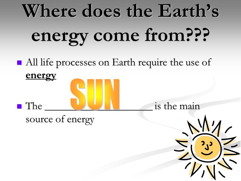 Where does the Earth's energy come from .