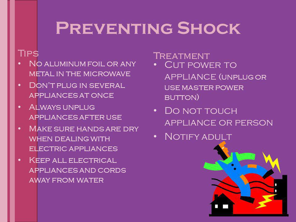 Preventing Shock Tips No aluminum foil or any metal in the microwave Don't plug in several appliances at once Always unplug appliances after use Make
