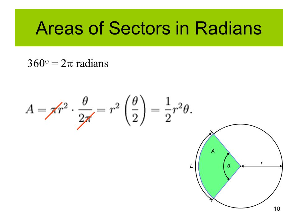 10 Areas of Sectors in Radians 360 o = 2  radians