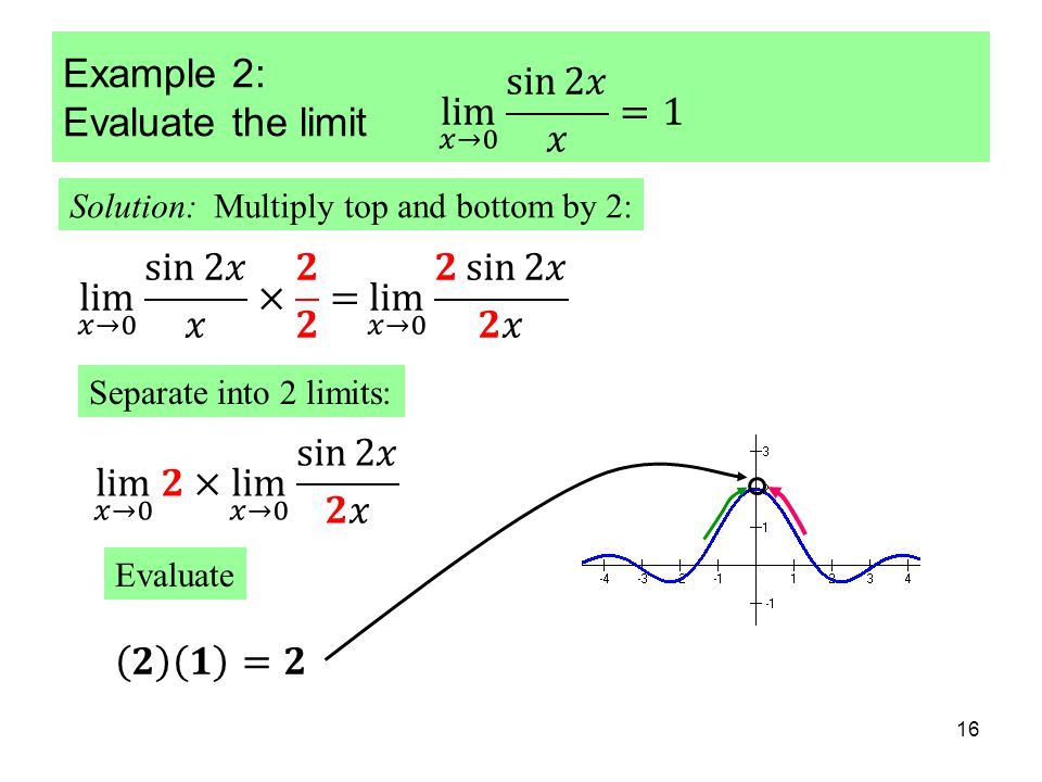 16 Example 2: Evaluate the limit Solution: Multiply top and bottom by 2: Separate into 2 limits: Evaluate