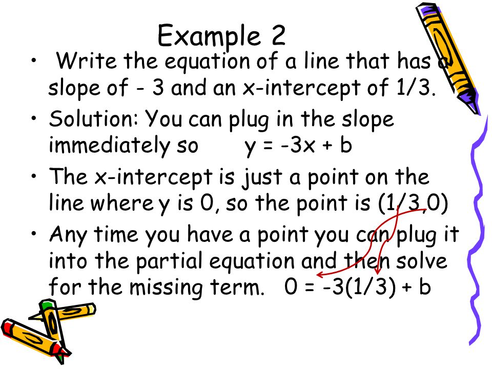 Now just solve for b so 0 = -1 +b 1 = b Once you have b you can write the equation y = -3x + 1