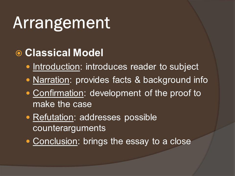 Arrangement  Classical Model Introduction: introduces reader to subject Narration: provides facts & background info Confirmation: development of the