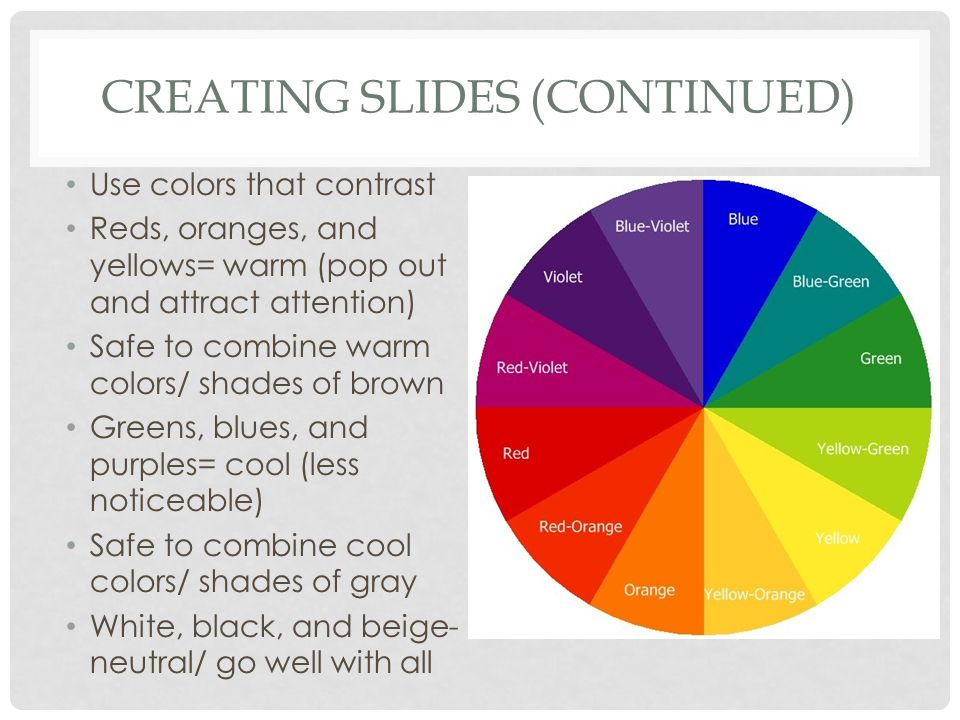CREATING SLIDES (CONTINUED) Use colors that contrast Reds, oranges, and yellows= warm (pop out and attract attention) Safe to combine warm colors/ shades of brown Greens, blues, and purples= cool (less noticeable) Safe to combine cool colors/ shades of gray White, black, and beige- neutral/ go well with all
