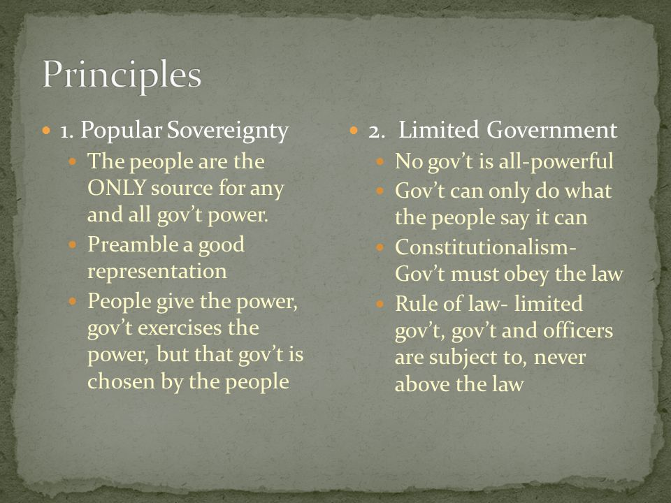 1. Popular Sovereignty The people are the ONLY source for any and all gov't power. Preamble a good representation People give the power, gov't exercis