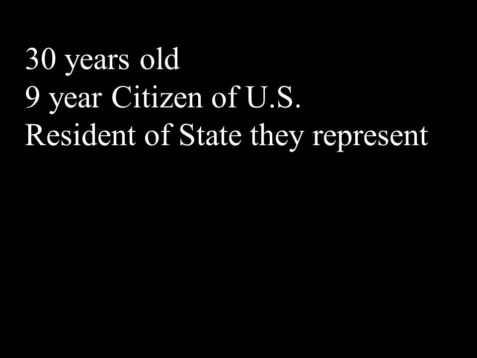 30 years old 9 year Citizen of U.S. Resident of State they represent