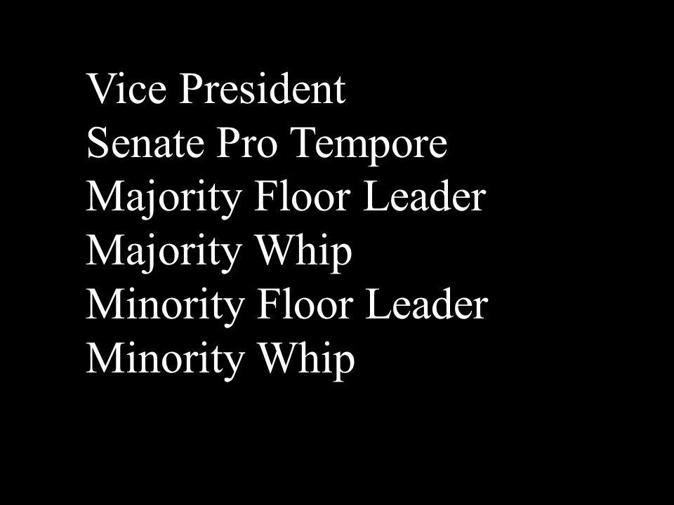 Vice President Senate Pro Tempore Majority Floor Leader Majority Whip Minority Floor Leader Minority Whip