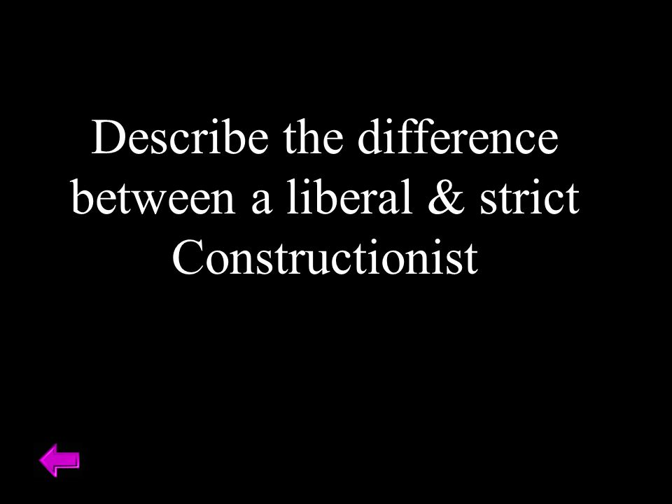 Describe the difference between a liberal & strict Constructionist