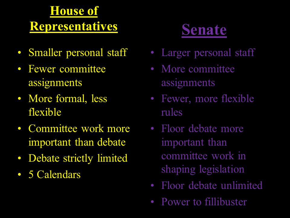 House of Representatives Smaller personal staff Fewer committee assignments More formal, less flexible Committee work more important than debate Debat