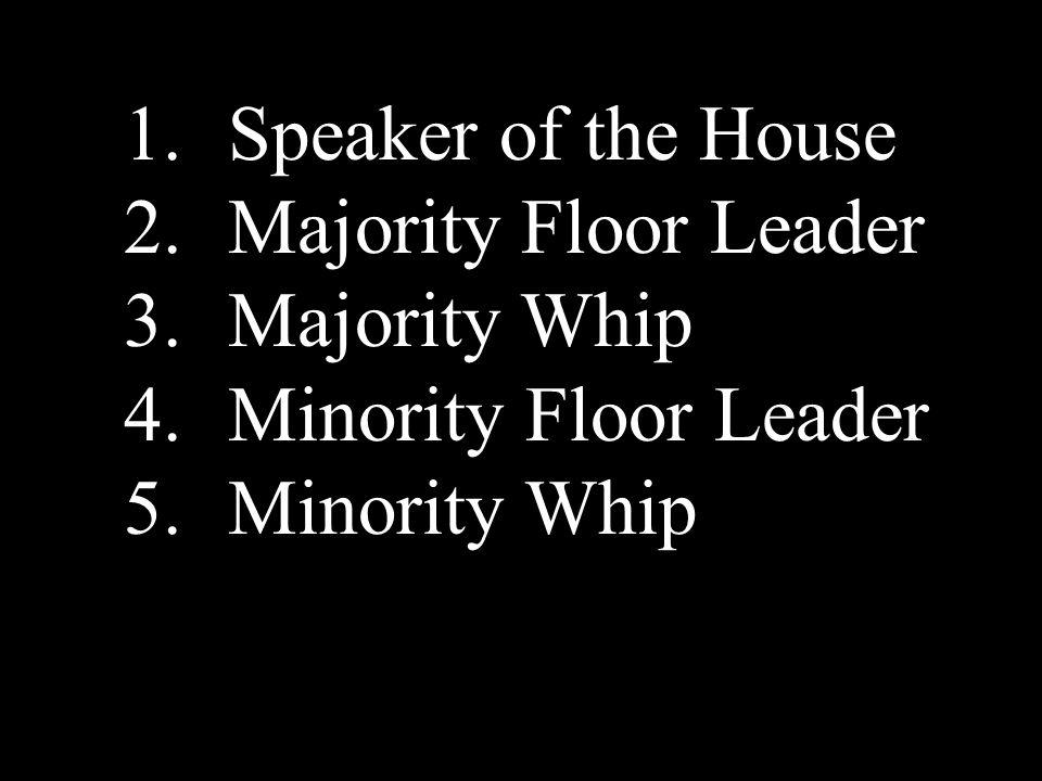 1.Speaker of the House 2.Majority Floor Leader 3.Majority Whip 4.Minority Floor Leader 5.Minority Whip