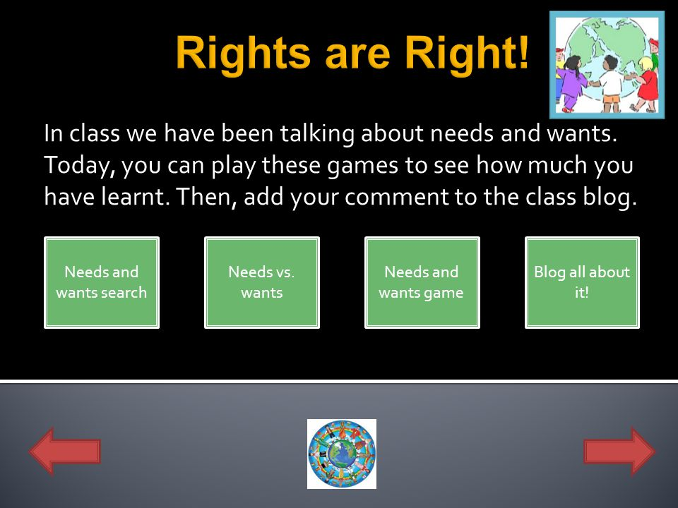 In class we have been talking about needs and wants. Today, you can play these games to see how much you have learnt. Then, add your comment to the cl