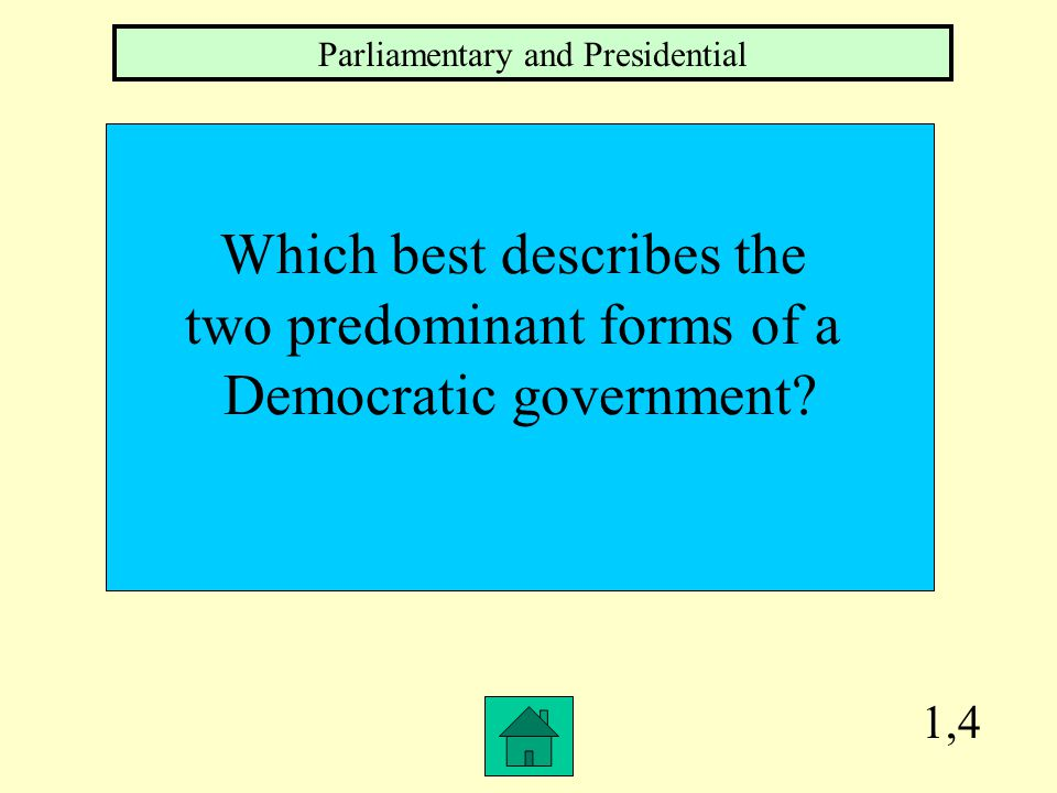 1,3 Which branch of the government is responsible for making and carrying out the laws in a PARLIAMENTARY system of government.