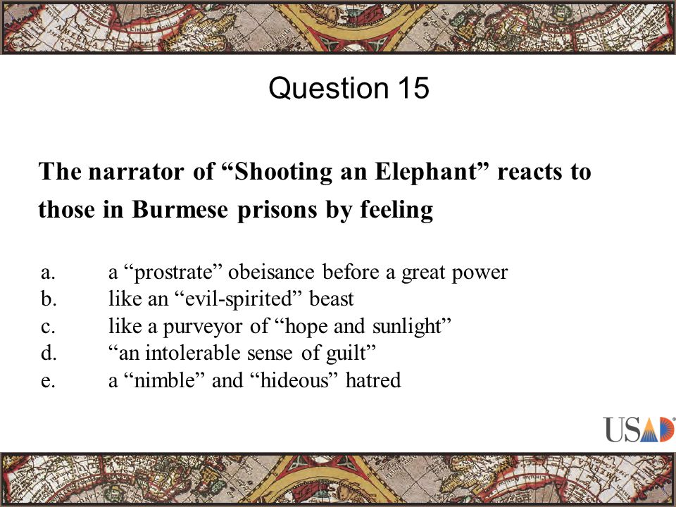 The narrator of Shooting an Elephant reacts to those in Burmese prisons by feeling Question 15 a.a prostrate obeisance before a great power b.like an evil-spirited beast c.like a purveyor of hope and sunlight d. an intolerable sense of guilt e.a nimble and hideous hatred