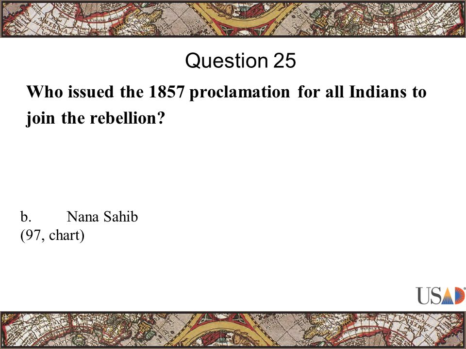 Who issued the 1857 proclamation for all Indians to join the rebellion.