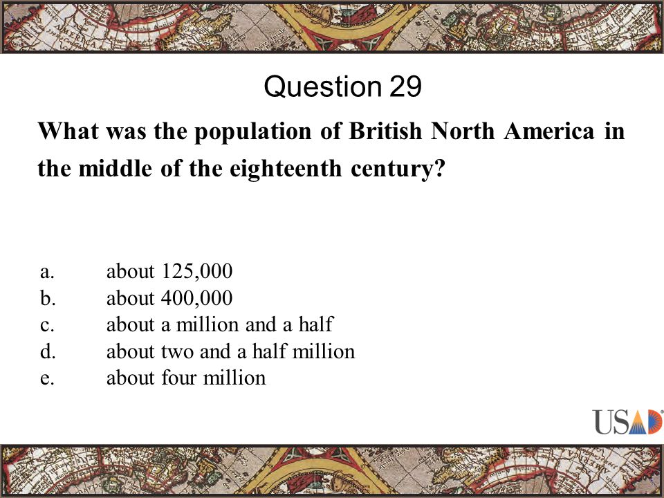 What was the population of British North America in the middle of the eighteenth century.
