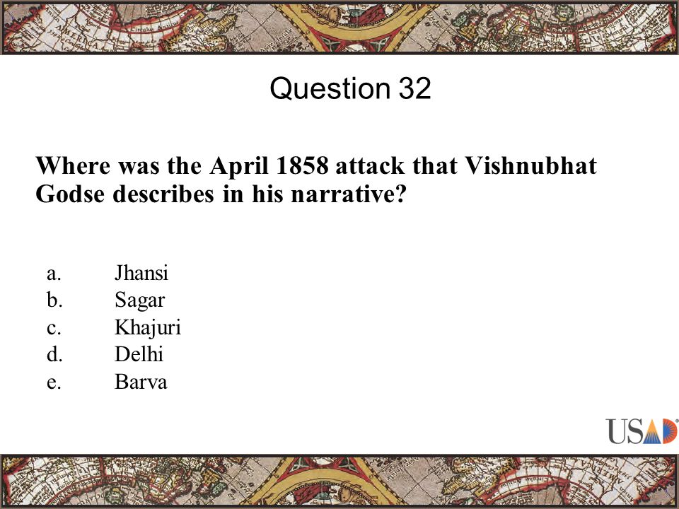 Where was the April 1858 attack that Vishnubhat Godse describes in his narrative.