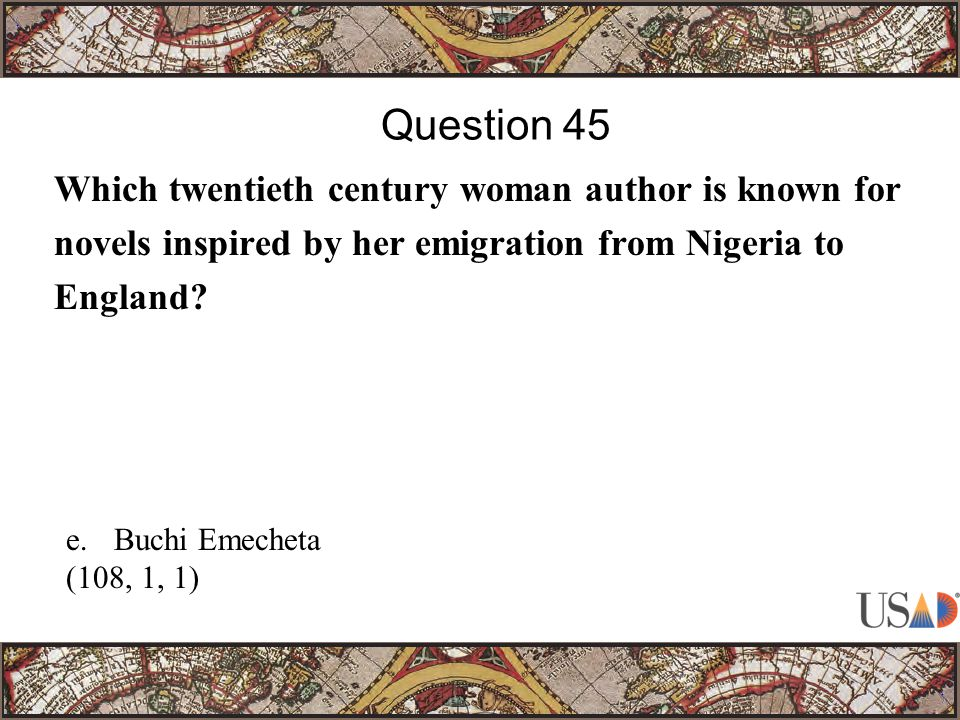 Which twentieth century woman author is known for novels inspired by her emigration from Nigeria to England.