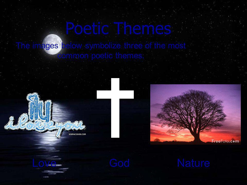 The images below symbolize three of the most common poetic themes. Poetic Themes LoveGodNature