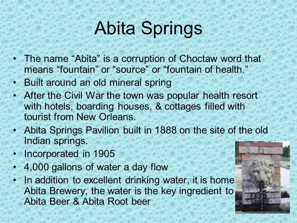 "Abita Springs The name ""Abita"" is a corruption of Choctaw word that means ""fountain"" or ""source"" or ""fountain of health."" Built around an old mineral"