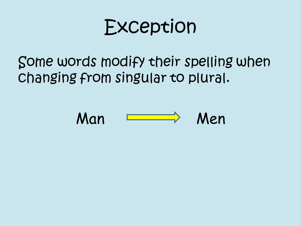 Exception Some words modify their spelling when changing from singular to plural. ManMen