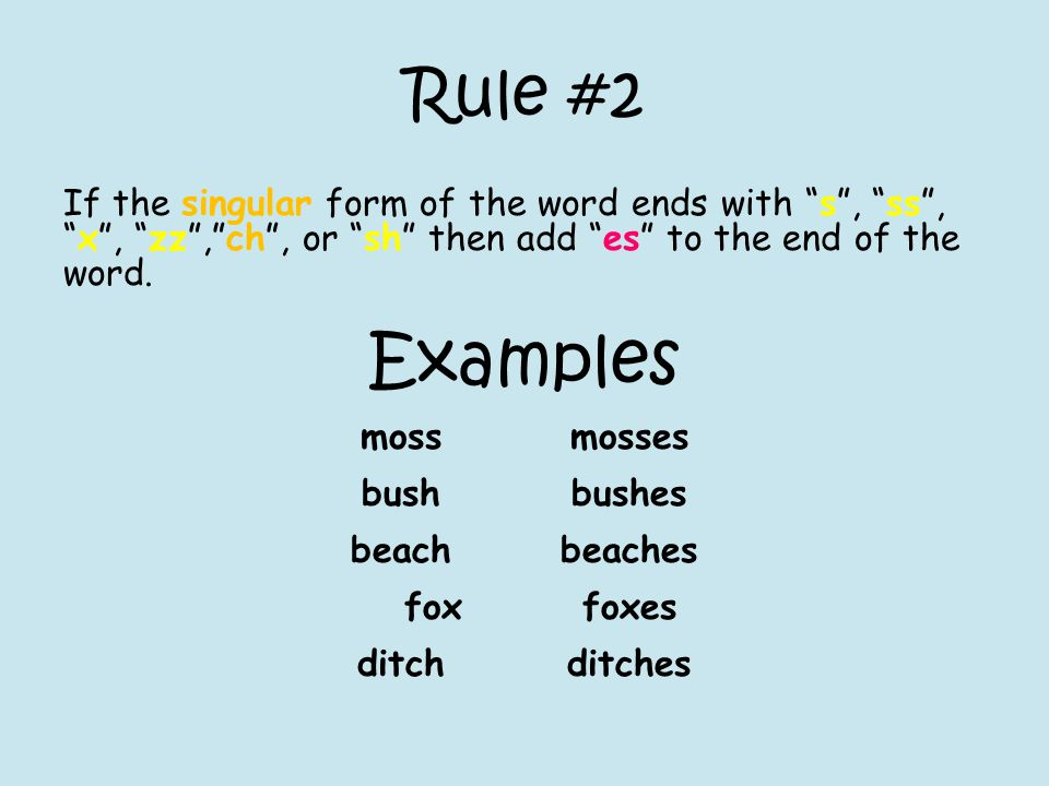 Rule #3 If the form of the word ends with y and the preceding letter is a vowel, then to change it to its plural form, add s to the end of the word.