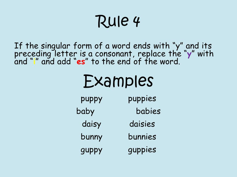"Rule 4 If the singular form of a word ends with ""y"" and its preceding letter is a consonant, replace the ""y"" with and ""i"" and add ""es"" to the end of t"