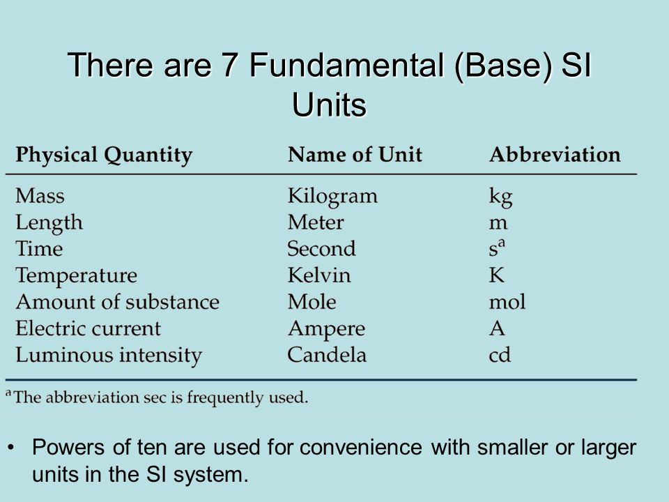 Powers of ten are used for convenience with smaller or larger units in the SI system. There are 7 Fundamental (Base) SI Units