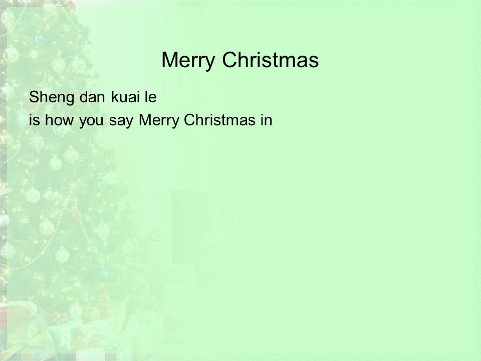 Merry Christmas Sheng dan kuai le is how you say Merry Christmas in