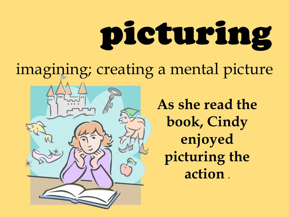 picturing imagining; creating a mental picture As she read the book, Cindy enjoyed picturing the action.