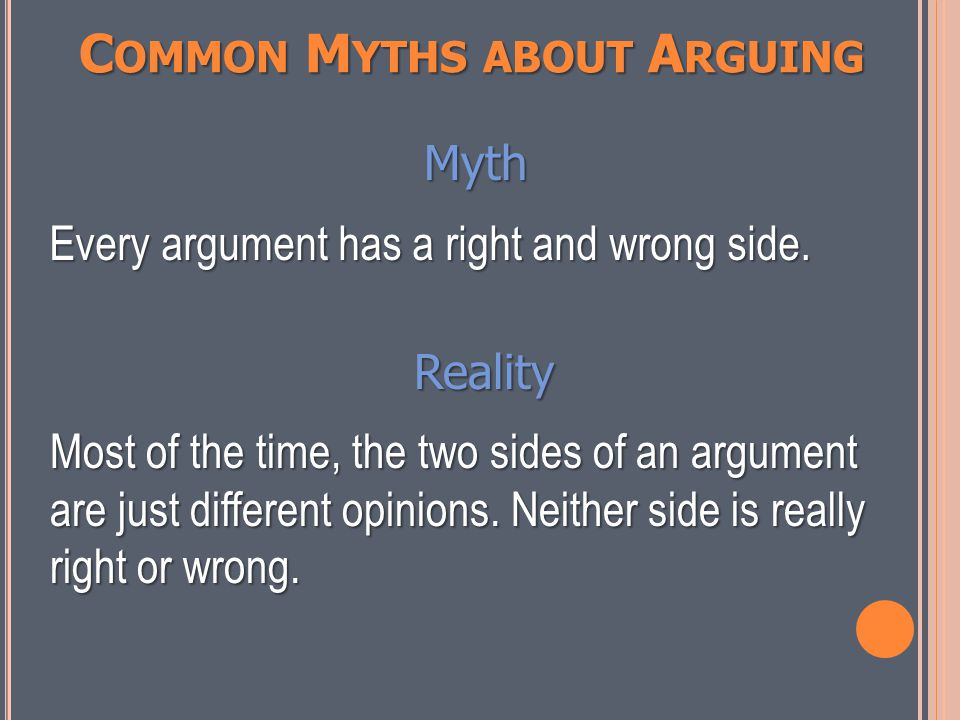 C OMMON M YTHS ABOUT A RGUING Myth You have to totally believe in what you are arguing.