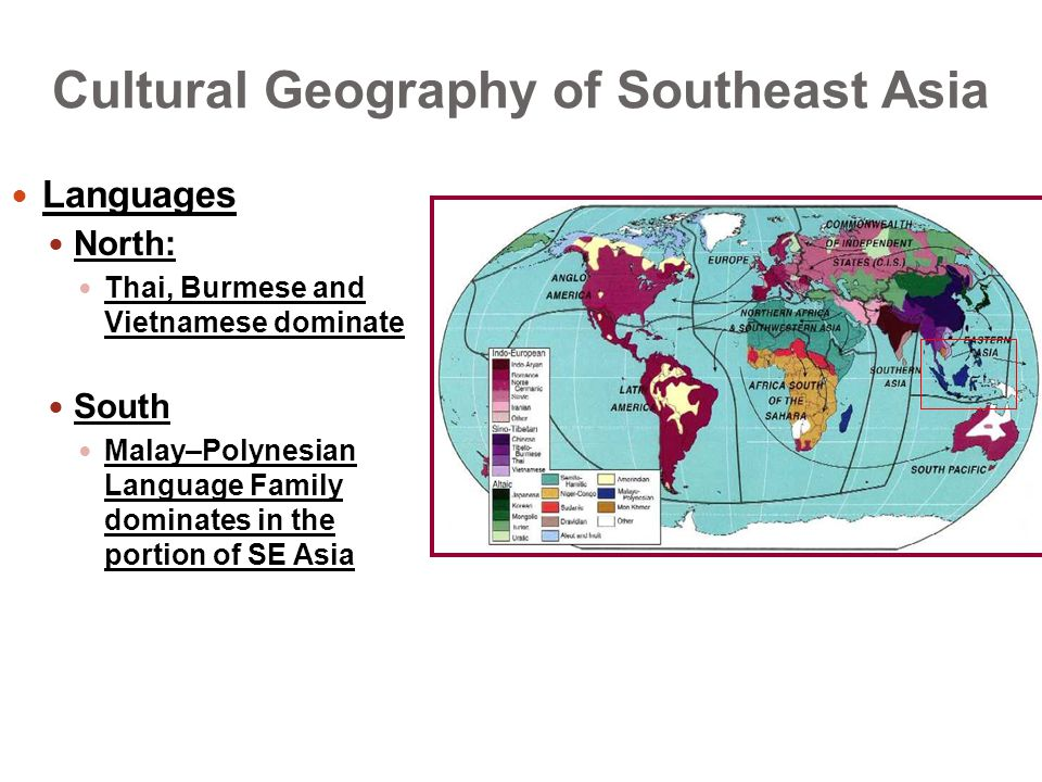 Cultural Geography of Southeast Asia Languages North: Thai, Burmese and Vietnamese dominate South Malay–Polynesian Language Family dominates in the portion of SE Asia