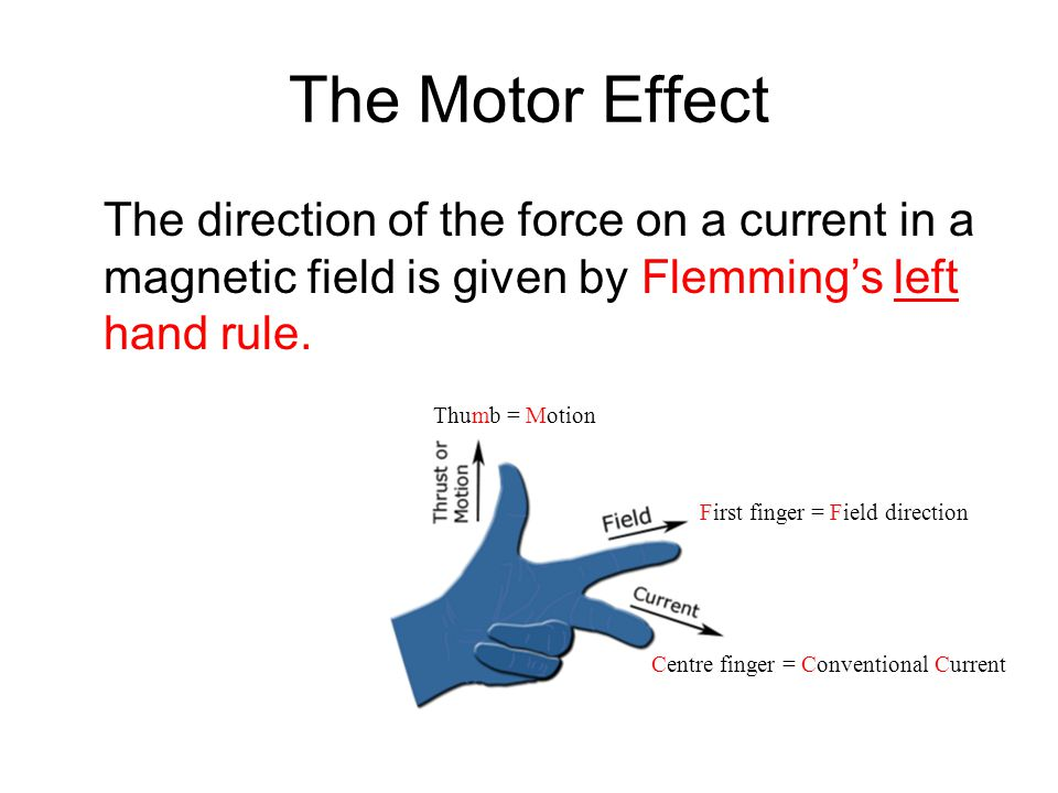 The Motor Effect The direction of the force on a current in a magnetic field is given by Flemming's left hand rule. Centre finger = Conventional Curre