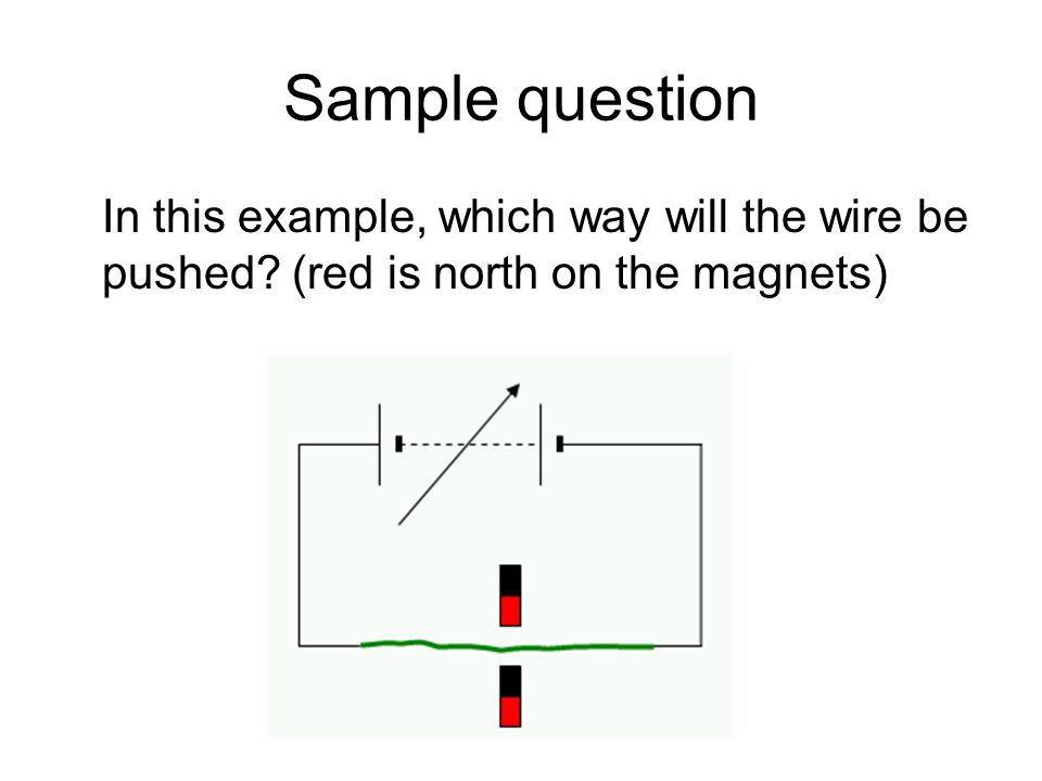 Sample question In this example, which way will the wire be pushed? (red is north on the magnets)