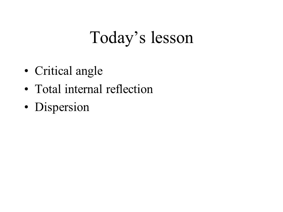 Today's lesson Critical angle Total internal reflection Dispersion