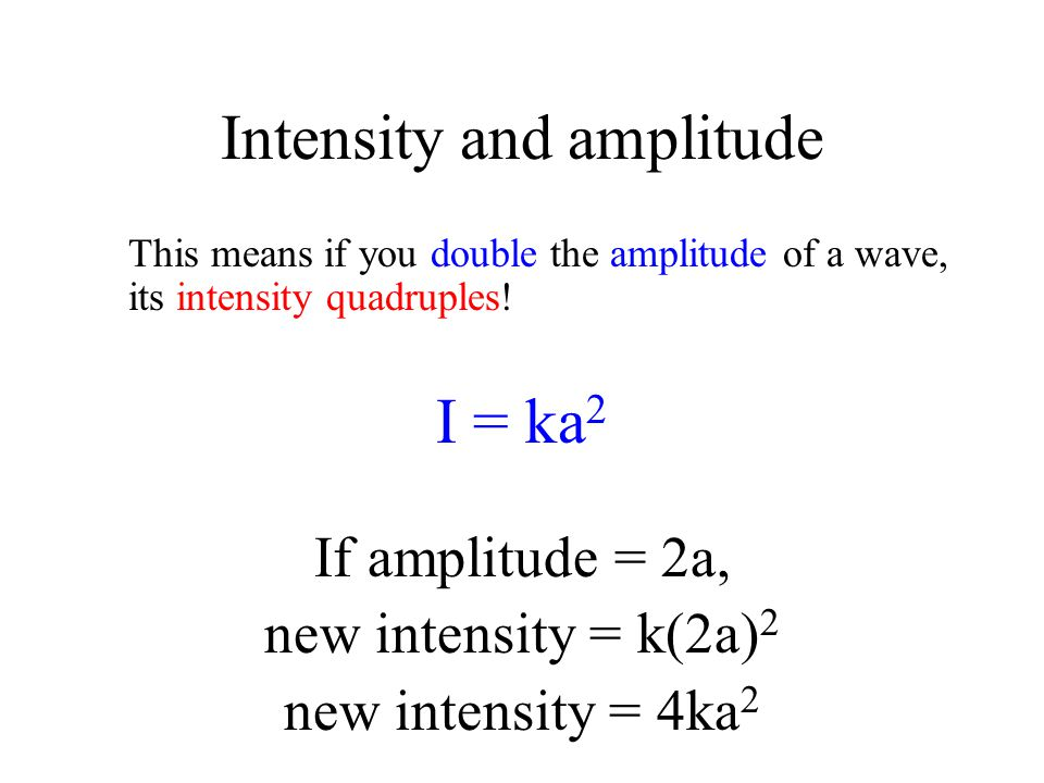 Intensity and amplitude This means if you double the amplitude of a wave, its intensity quadruples! I = ka 2 If amplitude = 2a, new intensity = k(2a)