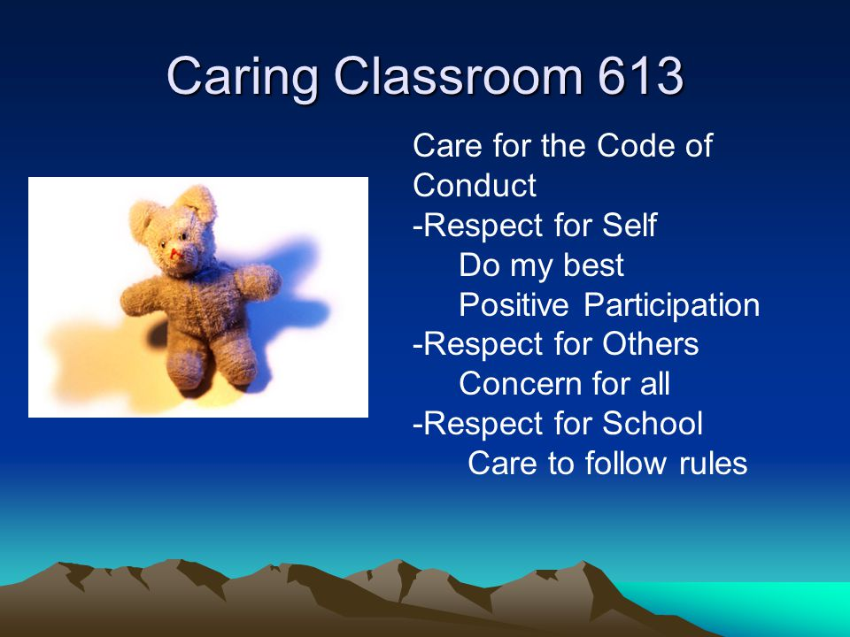 Caring Classroom 613 Care for the Code of Conduct -Respect for Self Do my best Positive Participation -Respect for Others Concern for all -Respect for School Care to follow rules