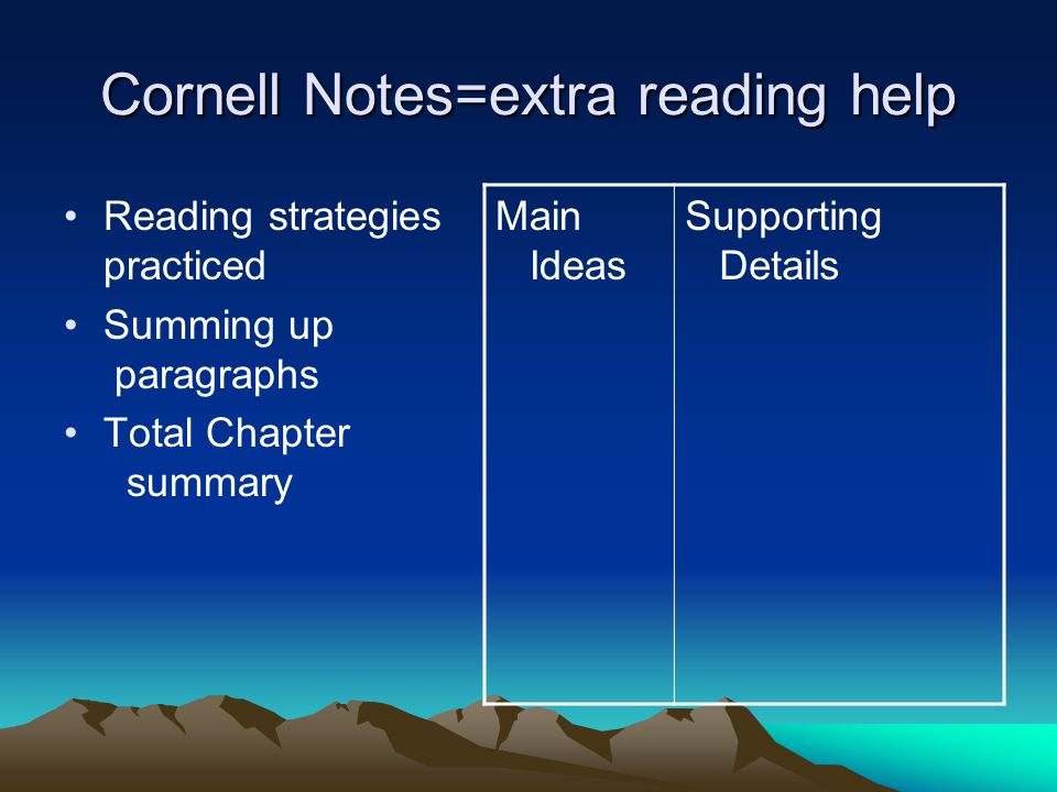 Cornell Notes=extra reading help Reading strategies practiced Summing up paragraphs Total Chapter summary Main Ideas Supporting Details