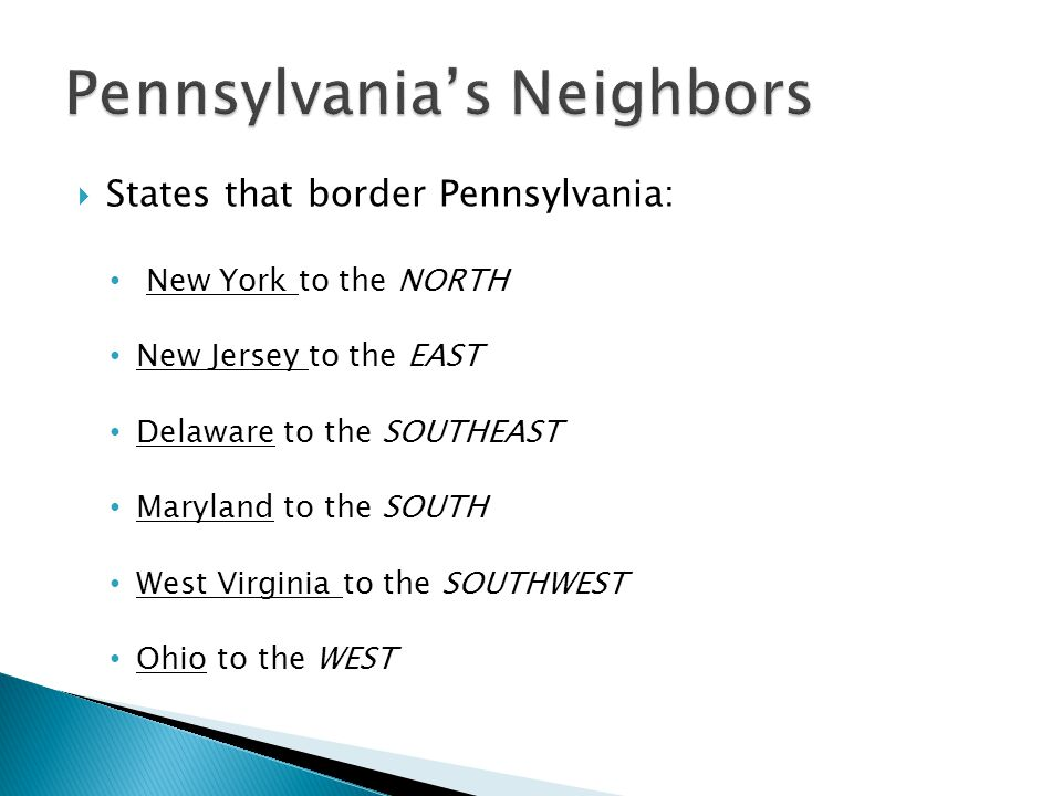  States that border Pennsylvania: New York to the NORTH New Jersey to the EAST Delaware to the SOUTHEAST Maryland to the SOUTH West Virginia to the SOUTHWEST Ohio to the WEST