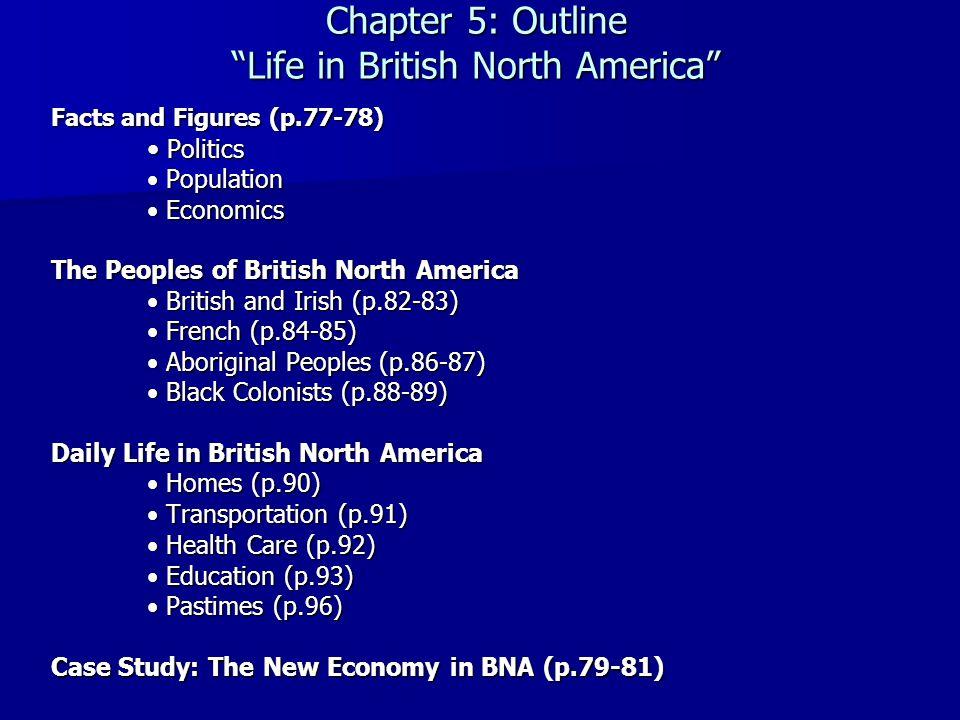 "Chapter 5: Outline ""Life in British North America"" Facts and Figures (p.77-78) Politics Politics Population Population Economics Economics The Peoples"