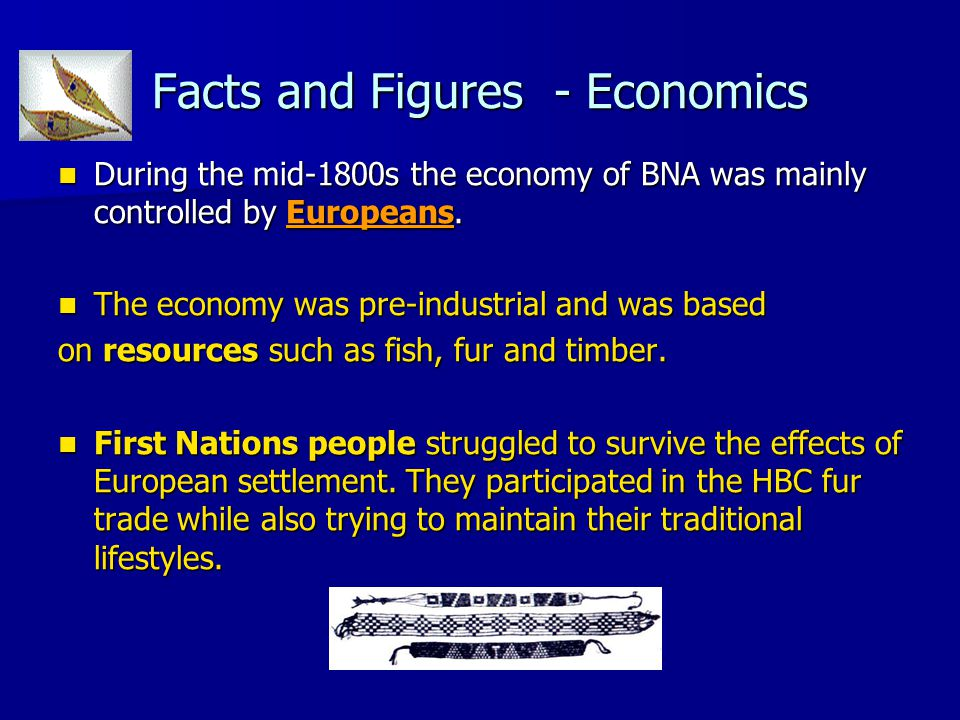 Facts and Figures - Economics During the mid-1800s the economy of BNA was mainly controlled by Europeans. During the mid-1800s the economy of BNA was