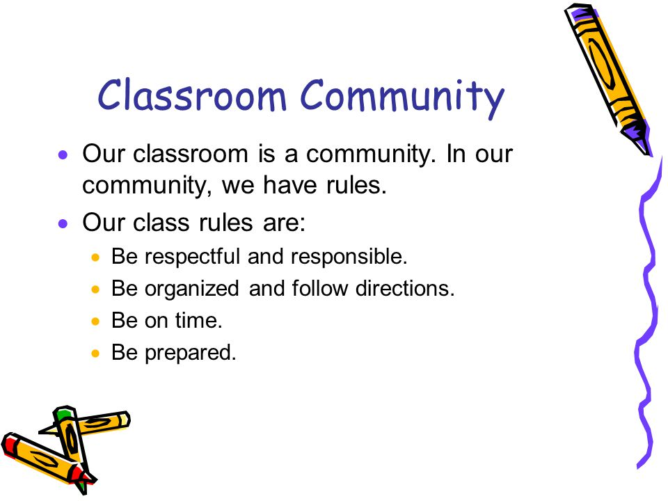 Classroom Community  Our classroom is a community. In our community, we have rules.  Our class rules are:  Be respectful and responsible.  Be orga