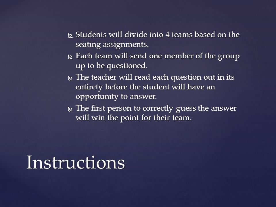  If the first person does not get the answer correct, the other three teams will have an opportunity to steal the point for their team.